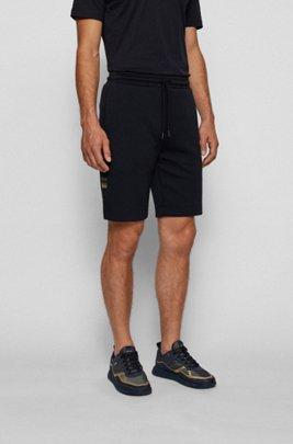 Shorts mit Tunnelzugbund und Kontrast-Details, Dunkelblau