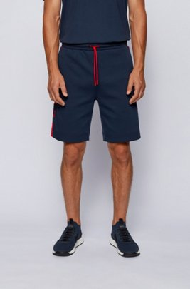 Drawstring-waist shorts with contrast details, Patterned