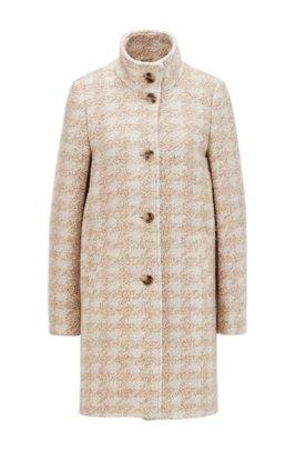 Mantel aus Bouclé mit Hahnentritt-Muster, Gemustert