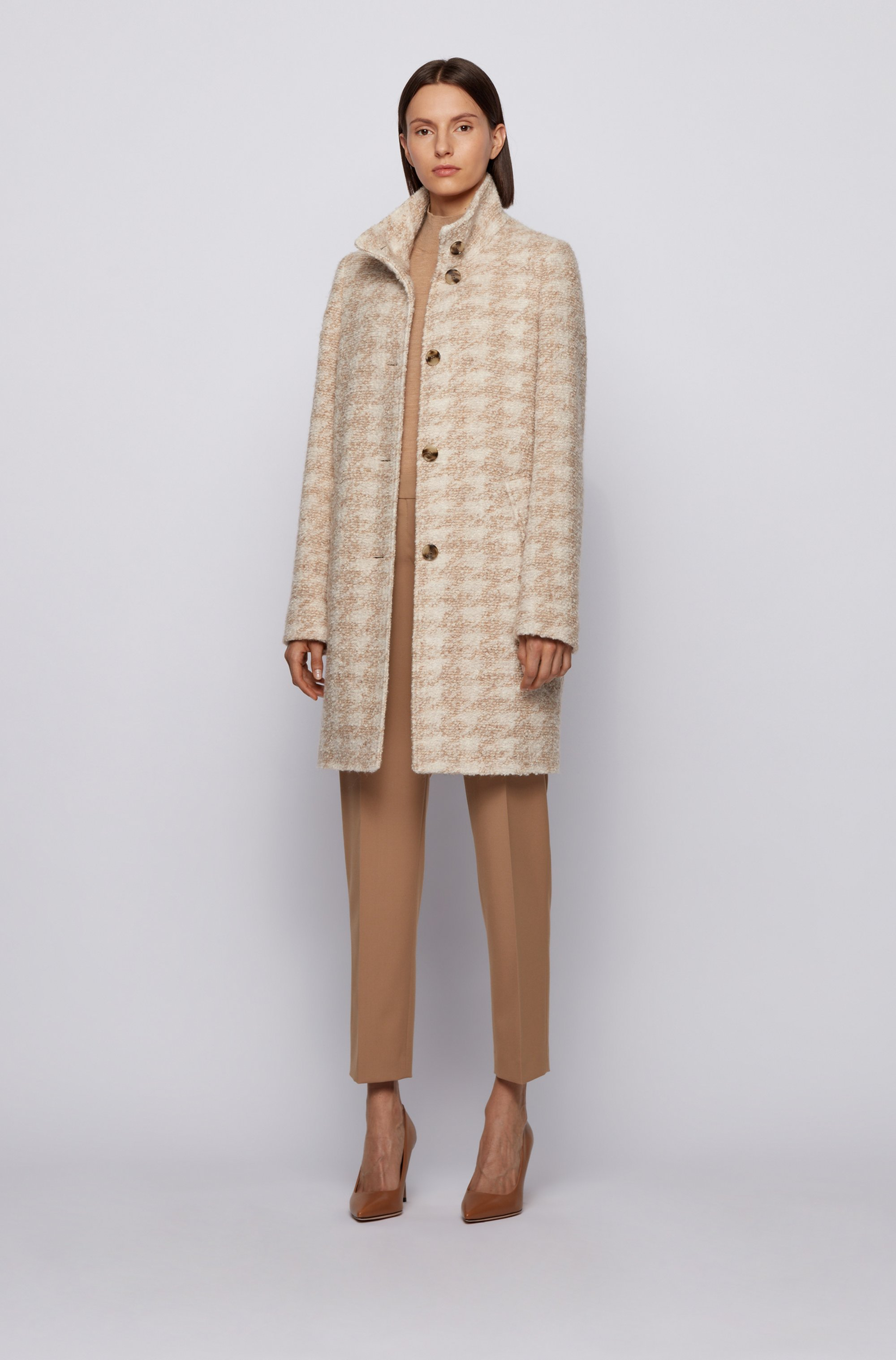 Houndstooth-pattern coat in bouclé fabric