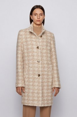 Houndstooth-pattern coat in bouclé fabric, Patterned