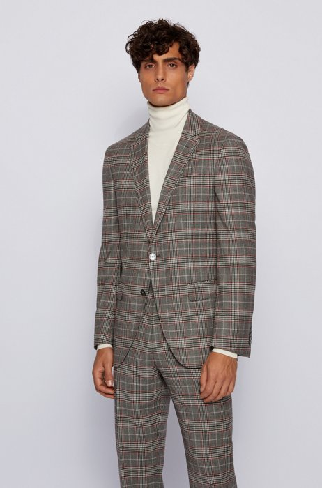 Slim-fit jacket in checked stretch wool, Silver
