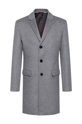Slim-fit coat in a wool blend with cashmere, Grey