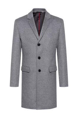 Manteau Slim Fit en laine mélangée à du cachemire, Gris