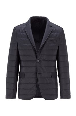 Slim-fit jacket with horizontal quilted stripes, Dark Blue