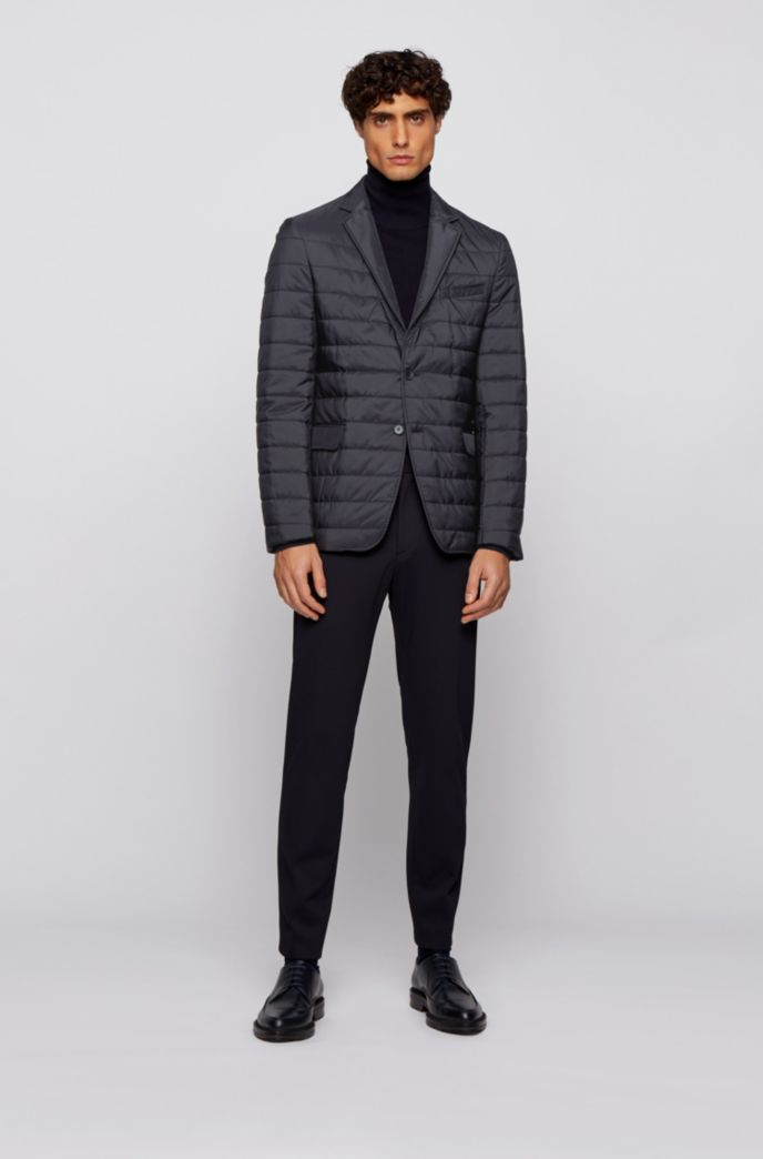 Slim-fit jacket with horizontal quilted stripes