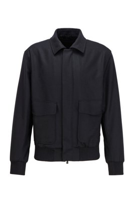 Slim-fit jacket in melange virgin wool, Black