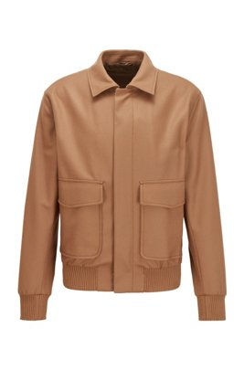 Slim-fit jacket in melange virgin wool, Beige