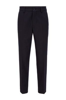 Relaxed-fit cropped trousers in stretch cotton, Dark Blue