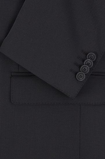 微图案弹力初剪羊毛修身西装,  001_黑色