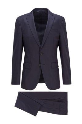 Traje slim fit en lana virgen microestampada con elástico, Azul oscuro