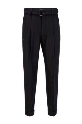 Pantalones oversized fit con cinturón en lana virgen, Negro