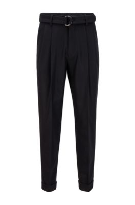 Belted oversized-fit trousers in virgin wool, Black