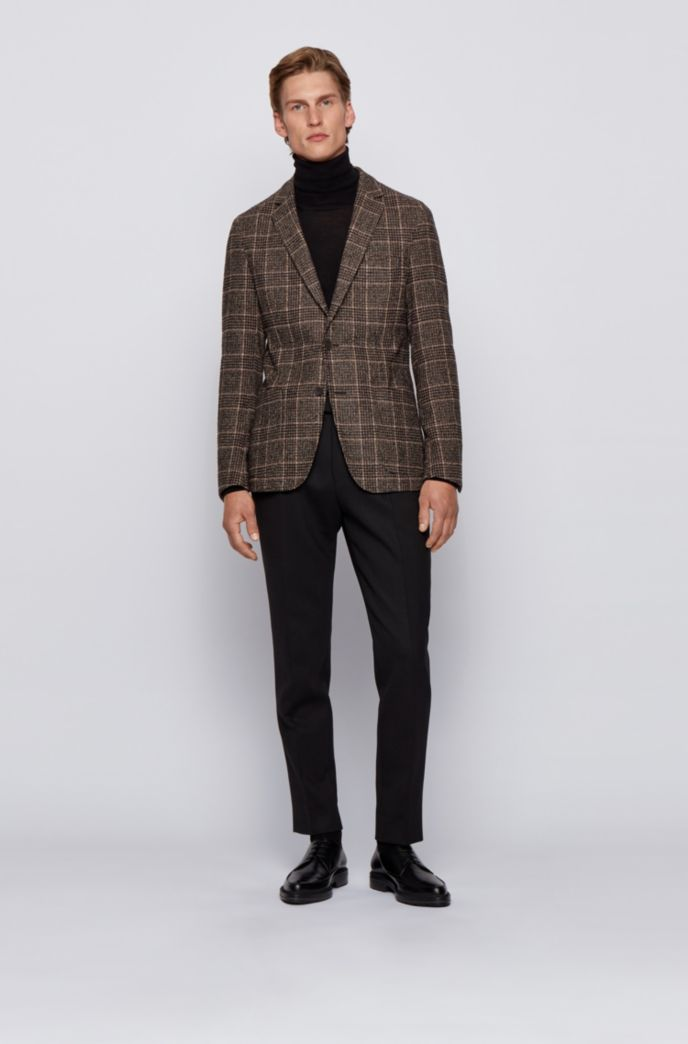 Slim-fit jacket in checked fabric with virgin wool