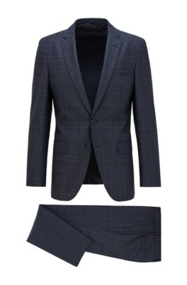 Slim-Fit Anzug aus karierter Stretch-Schurwolle, Dunkelblau