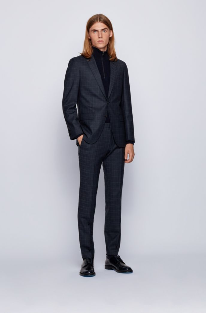 Checked slim-fit suit in stretch virgin wool