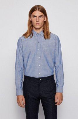 Slim-fit shirt in stretch Oxford cotton, Blue