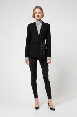 Slim-fit trousers with new-season logo, Black