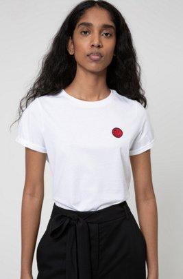 T-Shirt aus Bio-Baumwolle mit Aufnäher der Kollektion, Weiß