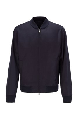Slim-fit jacket in stretch wool with zipped front, Dark Blue