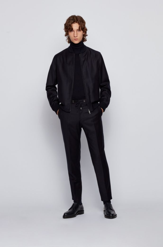 Slim-fit jacket in stretch wool with zipped front