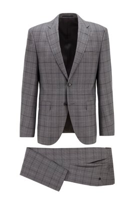 Regular-fit suit in checked virgin-wool serge, Grey