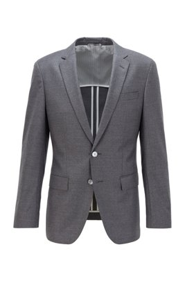 Veste Slim Fit en flanelle de laine stretch, Gris