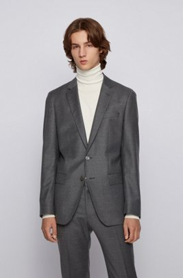 Slim-fit jacket in stretch wool flannel, Grey