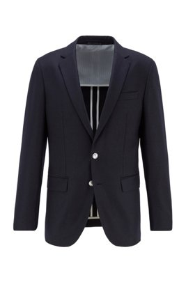 Slim-fit jacket in stretch wool flannel, Dark Blue
