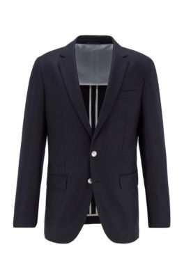 Slim-fit jacket in stretch wool flannel, Dark Blue