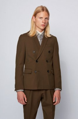 Double-breasted slim-fit jacket in patterned fabric, Light Green