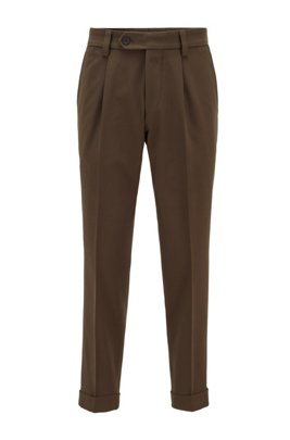 Oversized-fit high-waisted trousers with pleat front, Dark Green