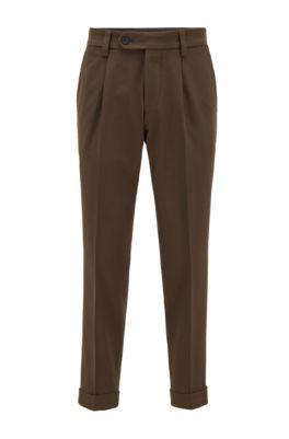 Pantalones de talle alto y corte extragrande con pinzas delanteras, Verde oscuro