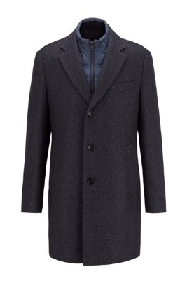 Slim-fit wool-blend coat with detachable inner, Dark Blue