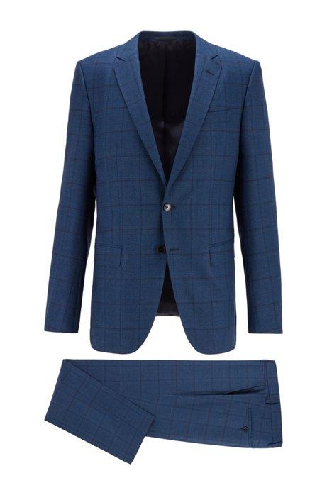 Slim-fit pak van geruite scheerwol, Donkerblauw