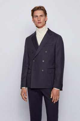 Double-breasted slim-fit jacket in structured wool, Dark Blue