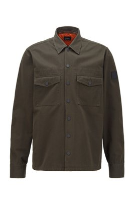 Oversized-fit shirt in cotton twill with collection embroidery, Light Green