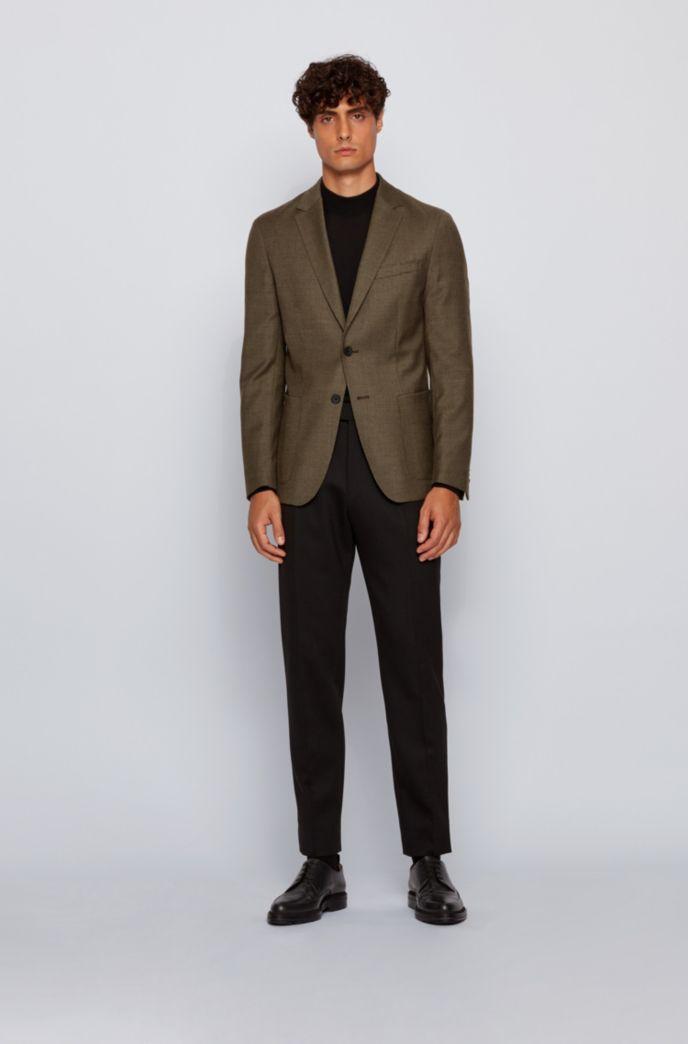 Slim-fit jacket in micro-patterned stretch virgin wool