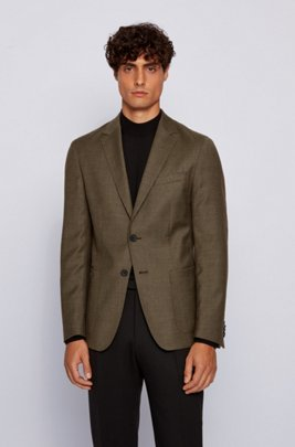Slim-fit jacket in micro-patterned stretch virgin wool, Light Green