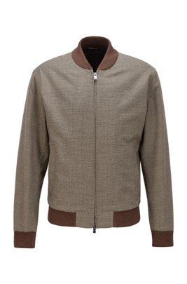 Slim-fit stretch-wool jacket with houndstooth micro pattern, Khaki