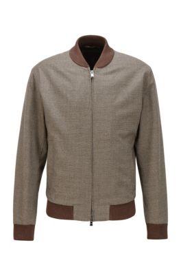 Slim-Fit Jacke aus Stretch-Wolle mit feinem Hahnentritt-Muster, Khaki