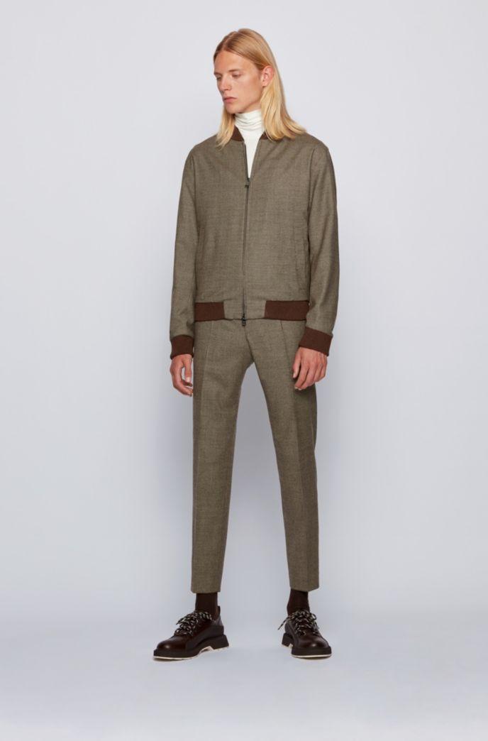 Slim-Fit Jacke aus Stretch-Wolle mit feinem Hahnentritt-Muster