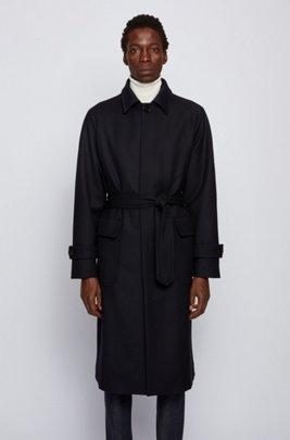 Manteau Relaxed Fit avec ceinture, en laine mélangée à motif chevrons, Bleu foncé