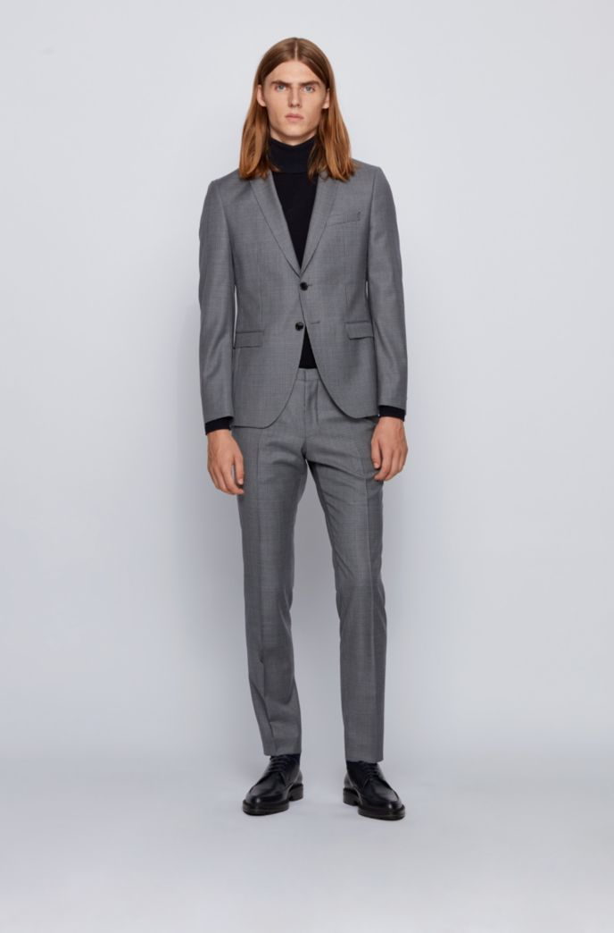 Extra-slim-fit suit in virgin-wool serge
