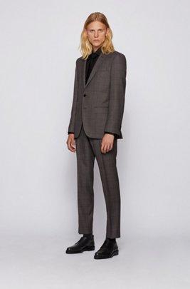 Slim-fit suit in windowpane-check virgin wool, Light Grey