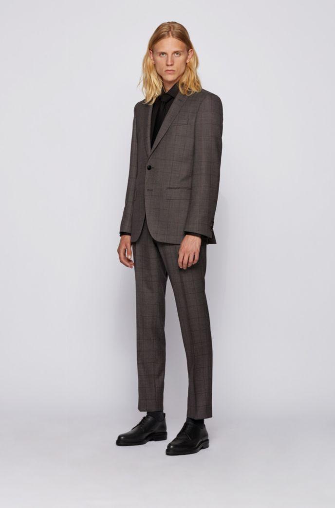 Slim-fit suit in windowpane-check virgin wool