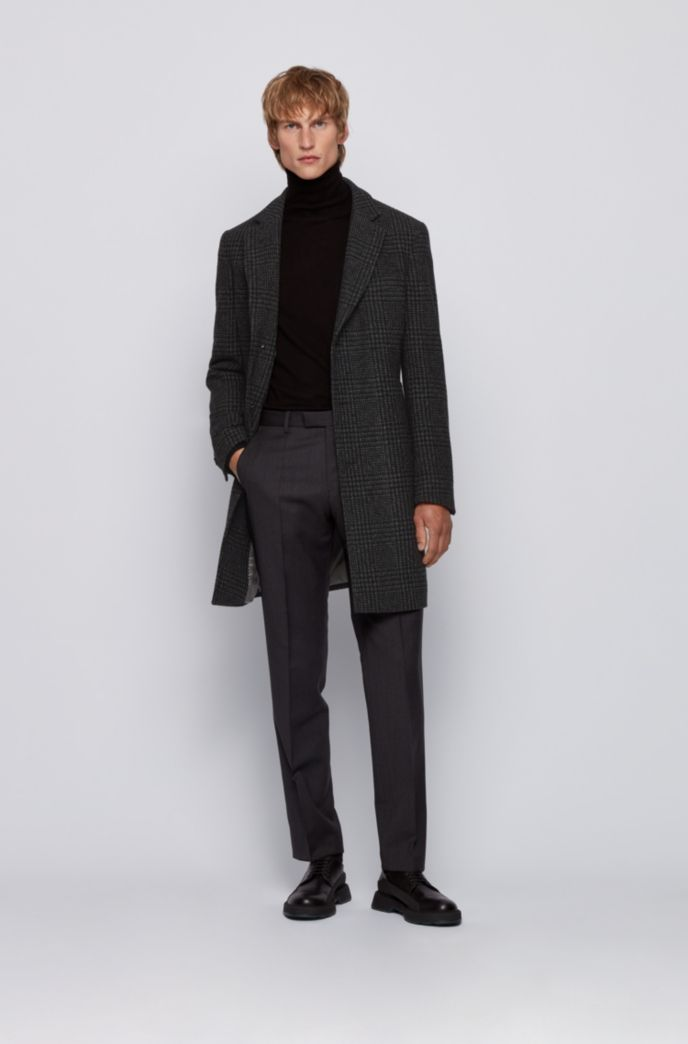 Slim-fit blazer-style coat with plain check