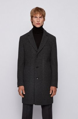 Slim-fit blazer-style coat with plain check, Light Grey