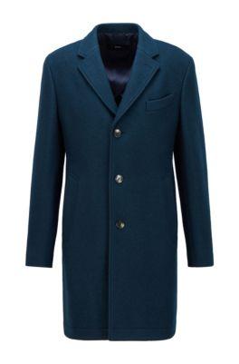 Slim-fit formal coat in wool-blend jersey, Green