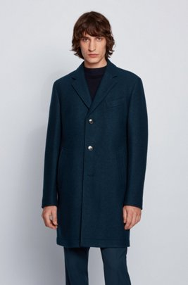Slim-fit formal coat in wool-blend jersey, Green